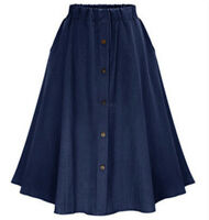 Plus Size Vintage Womens A-line Midi Elastic Denim Skirt Waist Jean Casual Dress