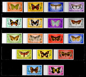 NORFOLK IS.: 1976 - 77 STAMP COLLECTION UNUSED BUTTERFLY SET SCT #201-17 SOUND