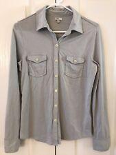 L.L. Bean Women's Medium Light Blue Cotton Jersey Knit Button Up Shirt Blouse