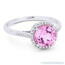 1.95ct Pink Lab Sapphire & Diamond Halo 14k White Gold Promise Anniversary Ring