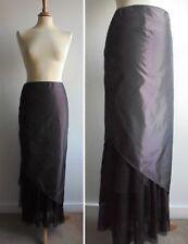 CARAMELO 100% Silk Long Skirt Burgundy Brown Size 42 UK 12