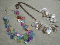 MULTI COLOR & WHITE SHELL BEADED BOHO BEACH NECKLACE LOT