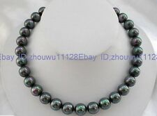 natural AAA+ 12mm Black south sea shell pearl fashion necklace 18'' BA-1330