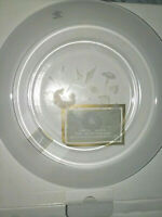 Glass Lead Crystal Hummingbird Plate 8.5'' Avon Products Made in France NIB 1994