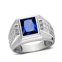 Mens Solid 14K White Gold Sapphire Ring 0.08ct Natural Diamonds Ring for Man