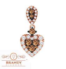 Brandy Diamond® Chocolate Brown 10K Rose Gold Beautiful Heart Necklace Pendant
