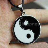 Yin Ying Yang Pendant Black White Necklace Charm with Black Leather Cord YAN