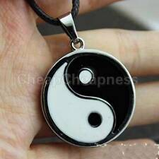 Yin Ying Yang Pendant Black White Necklace Charm with Black Leather Cord