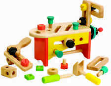NEW childs wooden toy CARPENTER TOOLS +TOOL BOX BENCH manual skills construction