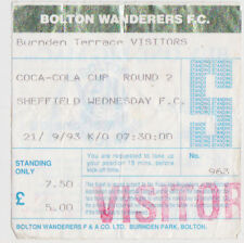 Football Ticket>BOLTON WANDERERS v SHEFFIELD WEDNESDAY Sept 1993 Coca-Cola Cup