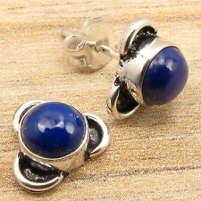 925 Silver Overlay Fiery NAVY BLUE LAPIS LAZULI LIGHTWEIGHT Stud Post Earrings