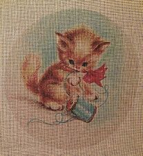 "New ListingNeedlepoint canvas ""Vintage Playing Kitten "" #C1"