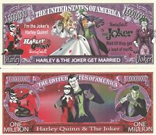 Harley and Joker Get Married Million Dollar Bill Fake Funny Money Novelty Note