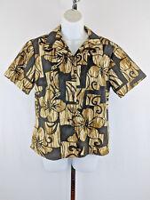 Hilo Hattie Womens Hawaiian Shirt Brown with Light Brown Cream Hibiscus Aloha M