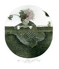 Man and Flower, Surrealistic Ex libris Etching by Juri Jakovenko, Belarus
