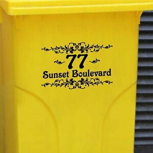 Wheelie Bin Vinyl Stickers - Number & Road Name or House Name - Retro Floral