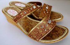 b1d2c432cca2 Damenschuhe Slipper Pantoletten Pantoffel Keilabsatz Bronze Gold Gr.38 NEU