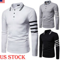 Fashion Men Slim Fit POLO Shirts Long  Sleeve Golf T-shirt Striped Tees Tops