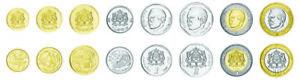 Morocco Set of 8 coins 5 10 20 Santimat 1/2 1 2 5 10 Dirhams, 2002, UNC, BIMETAL