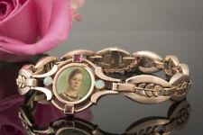 Schmuck Antikes Armband mit Frauenbild Opal und Rubin detailverliebt 333 Rotgold