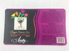 Amity Vineyards Unused Wine Label 1998 Oregon Gamay Noir Beaujolais France Grape