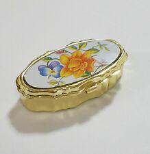 Vtg mini sewing kit miniature brass box pill box style mending kit hinged floral