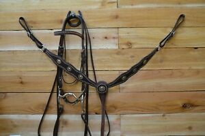 Dark Leather studded Bridle with Myler bit 0.and Breast Collar