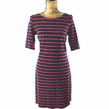 Banana Republic Dress 6 Tall Medium Navy Blue Red Stripe Tee Shift Short Sl
