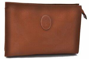 Authentic YVES SAINT LAURENT Clutch Bag LPVC Brown D5019