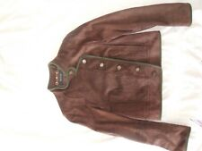 Gucci Brown suede Green Wool trimmed Women Motorcycle Jacket Sz 44