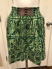 Vanessa Virginia Anthropologie Green Floral A-Line Skirt, Size 6