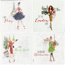 4x Single Paper Napkins -City Girls- for Party, Decoupage Decopatch -mix-