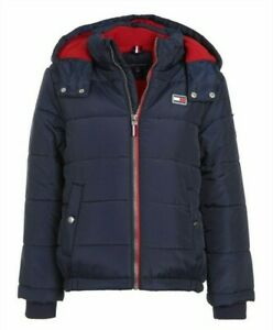 Tommy Hilfiger Boys Navy Detachable Hood Fleece Lined Puffer Full Zip Jacket