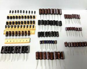 122pcs ELECTROLYTIC CAPACITOR Assortment Rubycon,  Epcos, Nippon, Nichicon USA