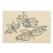 LAUREL BURCH Butterfly Trio Wood Mounted Rubber Stamp Stampendous LBP005 NEW