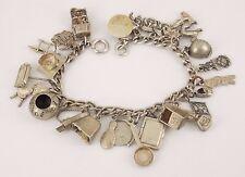 """Vintage / Antique Sterling Silver Loaded Charm Bracelet 7"""" Long"""