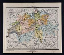 1875 Lange Map - Switzerland - Swiss Alps Geneva Zurich Lucerne Bern Basel