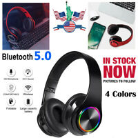 Bluetooth Wireless Headphones Earphones Stereo Noise Cancelling Headset With Mic