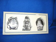 CUTE Pewter Set of 3 Mini Dog Picture Frames NIB  Bulldog, + 2 other pups!