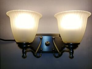 Two Light Brushed Nickel Vanity Light Fixture Frosted Glass Shades Wall Sconce