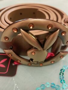 New Playboy Womens belt,  gold belt with gold playboy bunny buckle