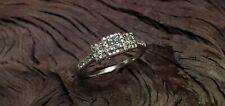 Zales 14k White Gold Past Present Future Engagement Princess Diamond Ring 2.8gr