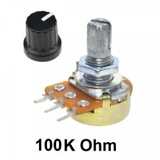 5x Potentiometers Pots Resistor Linear 3 Pin Taper Rotary With Knob Cap 100k Ohm