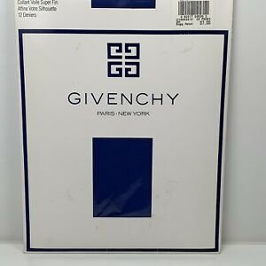 Givenchy Vintage 1990 French Ultra Sheer Light Control Top Pantyhose Blue Size B