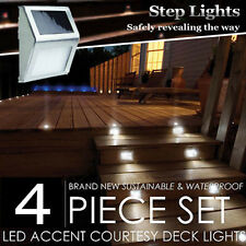 4PCS 4X LED Solar Powered Outdoor Garden Fence Wall Gutter Path Set Light Bright