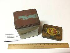 2 Vintage Tobacco Tins Crosby Square Y-B Yocum Brothers Advertising Tobacco Tin