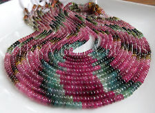"7"" strand AAA WATERMELON TOURMALINE smooth gem stone rondelle beads 4mm multi"