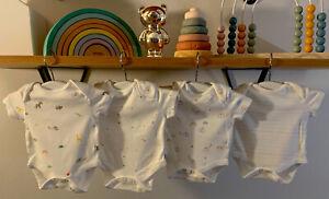 NEXT 4 Pack Bodysuits Baby Boy Girl Unisex First Size Rainbow Brights White