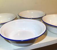 "Vintage Bumper Harvest Enamelware Bowls White w Blue Trim Set Of FOUR 6 1/4"""