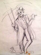 Julian Ritter -Clown With an Umbrella -3 Charcoal on Vellum  Un-Signed- 259